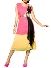 Embroidered Pink And Beige Faux Georgette Kurta - By