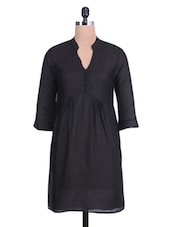 Solid Black Gathered Rayon Top - By