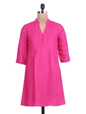 Solid Hot Pink Gathered Rayon Top - By