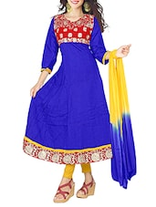 Embroidered Royal Blue Cotton Semi-Stitched Dress Material - By