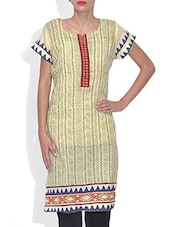Green Cotton Printed Short Sleeved Kurti - By
