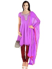 Purple Georgette Hand Embroidered  Anarkali  Suit Set - By
