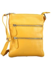 Peppy Yellow Leather Sling Bag - Phive Rivers