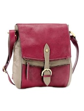 Pink And Beige Leather Sling Bag - Phive Rivers