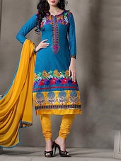 Blue Cotton Embroidered Salwar Suit Set - By