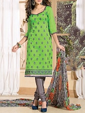 Green Chanderi Cotton Embroidered Salwar Suit Set - By