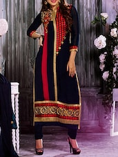 Blue Georgette Embroidered Salwar Suit Set - By