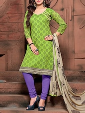 Green Printed Semi Stitched Suit Set - By