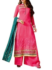 Pink Embroidered Georgette Suit Set - By