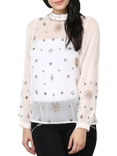 Ivory Full-sleeved Sheer Top - Stykin