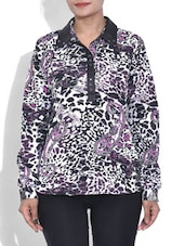 White Paisley Printed Quarter Sleeved Top - By