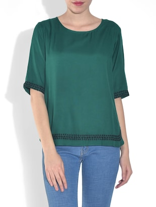 Green Viscose Sheer Top