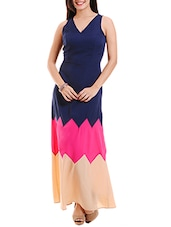 Navy Blue Sleeveless Color Blocked Maxi Dress - By