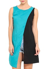 Sky Blue And Black Cotton Dress - By