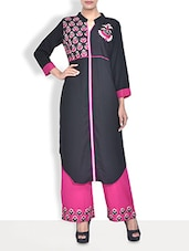 Black Rayon Embroidered Three Quarter Sleeved Long Kurti - By