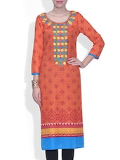 Red Cotton Printed Three Quarter Sleeved Long Kurti - By - 9580015