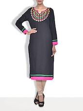 Black Cotton Embroidered Three Quarter Sleeved Long Kurti - By