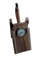 Wooden Pen Stand With Clock - Onlineshoppee