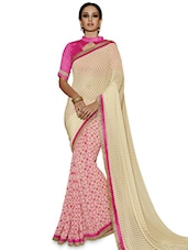 Cream And Pink Georgette Printed Zari Jacquard Saree - By