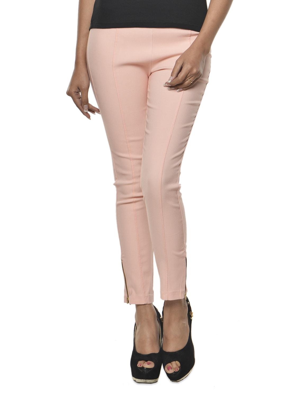 Baby Pink Cotton-Knit Jeggings - Ursense