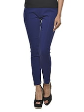 Royal Blue Cotton-Knit Jeggings - Ursense