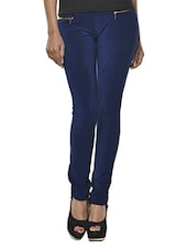 Dark Blue Polyester-Knit Jeggings - Ursense
