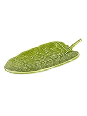 Green leaf ceramic finish platter -  online shopping for Decorative Trays & Bowls