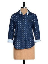 Solid Blue Printed Shirt - Fast N Fashion - 958185