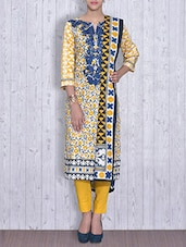 Yellow And White Printed Cotton Unstitched Suit Set - By