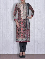 Black And Pink Printed Cotton Unstitched Suit Set - By