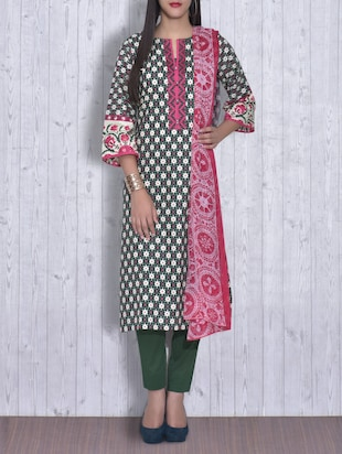 Forest Green Printed Cotton Dress material -  online shopping for Dress Material
