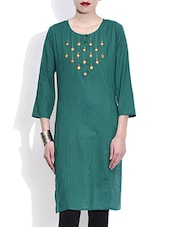Turquoise Green Cotton Kurta With Mirror Work - By