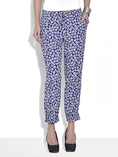Blue Crepe Floral Printed Cuffed Pants - By