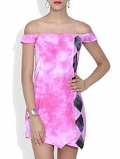 Pink Batik Print Off-shoulder Cotton Dress - By
