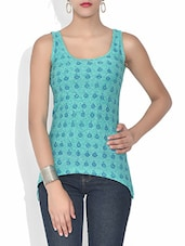 Sky Blue Block Printed Cotton Top - By