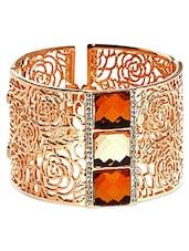 Gold Cutwork Embellished Cuff Bracelet - By