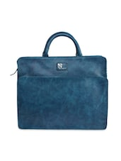 Teal Blue Faux Leather Laptop Bag - By
