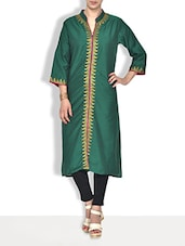 Green Silk Embroidered Kurti - By