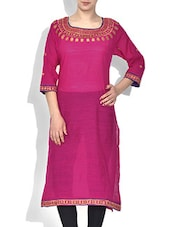 Pink Silk Embroidered Kurti - By