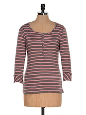 Brown And Pink Striped Top - Colors Couture