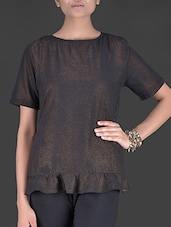 Bronze Short Sleeved Georgette Shimmer Top - By