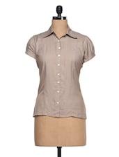 Girl's Beige Short Sleeve Formal Shirt - Adam N' Eve