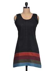 Black Color Block Cotton Casual Dress - Adam N' Eve
