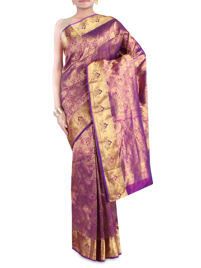 Purple And Gold Embroidered Pure Silk Saree - By