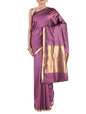 Purple Embroidered Pure Silk Saree - By