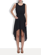 Black Poly Georgette Crop Dress - By