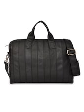 Black Rexine Striped Hand Bag - By