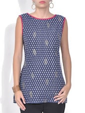 Navy Blue And Grey Printed Cotton Kurti - By