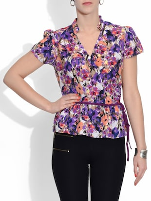 multicolored Cotton Lace Printed Short Sleeved Top