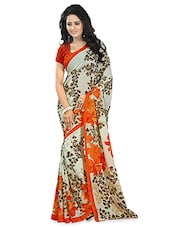 Off-White Floral Printed Georgette Saree - By